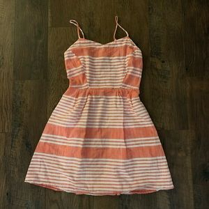 Old navy petite peach and white stripe dress